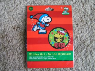 SNOOPY & WOODSTOCK Glitter Art Christmas Holiday Craft Kit NEW IN