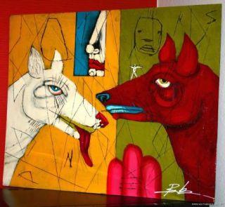 Michael Banks Folk Art Modern Abstract Painting