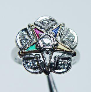 Pretty Vintage Diamond Eastern Star Ring 10K White Gold