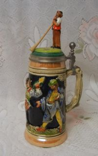 Vintage Egon Bay German Figural Lidded Beer Stein Mug