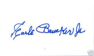 Earle Brucker Jr Philadelphia Athletics Signed 3x5
