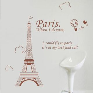 New Eiffel Tower Pattern Removable DIY Wall Wallpaper Stickers Sticker