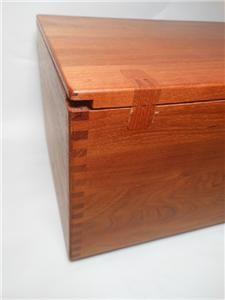 Modern Solid Teak Storage Cabinet Blanket Chest Dove Tailed