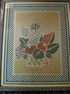 Limited Edition Lithograph Fruit Basket by Karl Eisler Framed