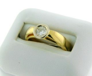Beautiful Solid 18K Yellow Gold Bezel Set VS1 G Diamond Solitaire Ring