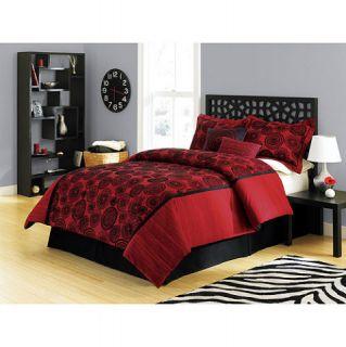 Elegant Bed Bedding Red Black Comforter Set 4 Piece Full New