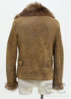Massimo Dutti Brown Leather Sheep Skin Lined Bomber Jacket Size Medium