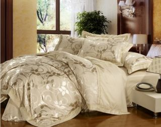 New Pure Full Queen Cream Vine Quilt Cover Duvet Cover Set Bedding 100