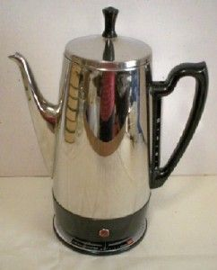 GENERAL ELECTRIC 10 CUP ELECTRIC STAINLESS STEEL COFFEE POT PERCOLATOR