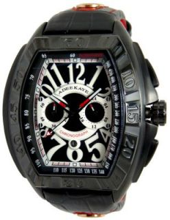 Adee Kaye Mens Black Dial Oversized Big Numerals Chronograph Watch