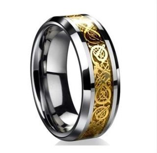 Dragon Inlay Silver Gold IP Black Celtic Ring Mens Wedding Band
