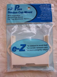 New EZ Pass Toll Tag Holder Suction Cup Mount E Z White
