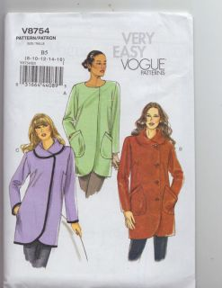 Easy Vogue Coat Pattern Easy Sewing Pattern V8754