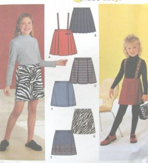 Girls Childs Skirts Sewing Pattern Optional Suspender Mock Wrap Front