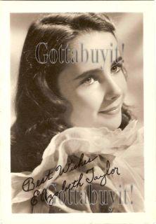 1940s Elizabeth Taylor Child Star Signed 5x7 Repro