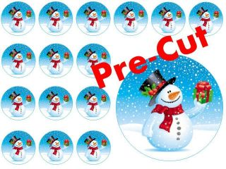 Christmas Xmas Pre Cut Fairy Cup Cake Toppers Edible Rice Paper