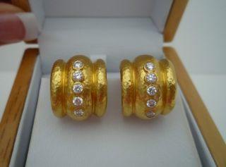 Elizabeth Locke 18K 19K Hammered Yellow Gold Diamond Amalfi Earrings