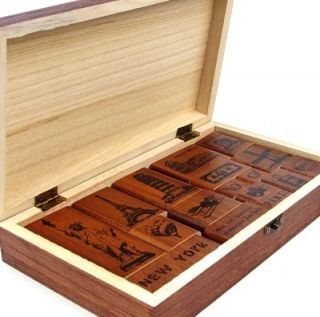 Decorative Stamps Making Memeries 17pcs in Wooden Box