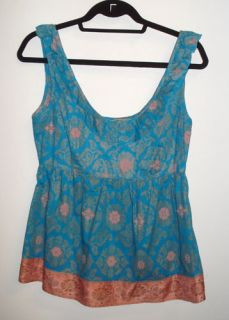 Edme Esyllte Anthropologie Blue Floral Print Prarie Boho Tunic Top 10