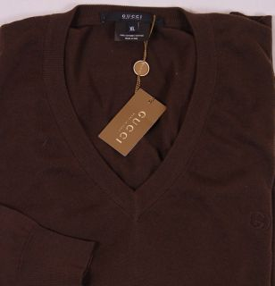 Gucci Sweater $640 Dark Brown Logo Embroidered V Neck Pullover Jumper