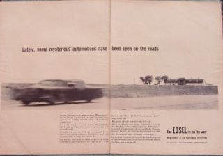 1957 FORD EDSEL AUTOMOBILE AD   Coming Soon   2 Pages   Dearborn MI