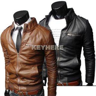 Men Korea Faux PU Leather Long Sleeve Zippered Jacket Coat Black Brown