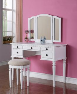 PC Elegant White Finish Vanity Table Mirror & Stool Makeup Set