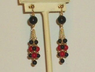 14K solid gold red coral & black onyx elegant earrings