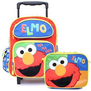 Elmo 12 Rolling School Roller Backpack Lunch Bag Set Ha Ha