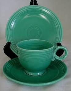 fiesta cup saucer 6 plate light green