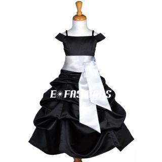 Black White Bridesmaid Holiday Wedding Flower Girl Dress 4 4T 5 6 7 8