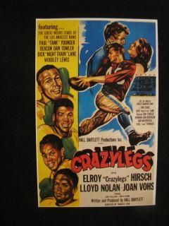 NEGRO FOOTBALL 1953 CRAZYLEGS ELROY HIRSCH LOS ANGELES RAMS MOVIE