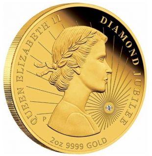 Queen Elizabeth II Diamond Jubilee 2012 2oz Gold Proof Coin $0 99