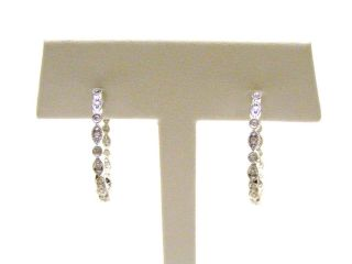 14K White Gold Diamond Hoop Earrings 1 2 Carat Diamonds Set Inside Out