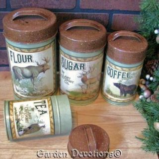 Cabin Canister Set Flour Sugar Coffee Bear Eagle Caribou Elk