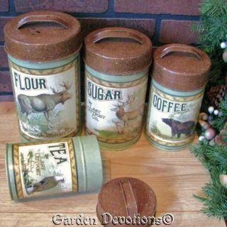Cabin Canister Set Flour Sugar Coffee Bear Eagle Caribou Elk