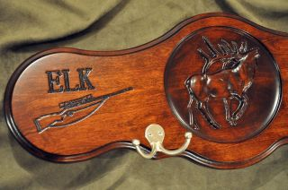Cherry Wood Elk Hunting Carving Trophy Plaque Taxidermy Panel Coat Hat