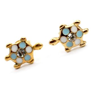 Tiny Lucky Baby Blue Turtle Earrings CZ Girl Baby Earrings Kids