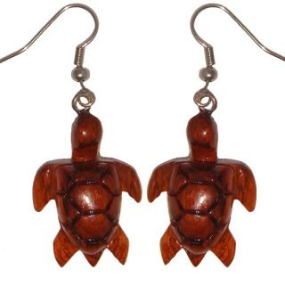 Hawaiian Jewelry Honu Turtle Koa Wood Hand Carved Earrings from Maui