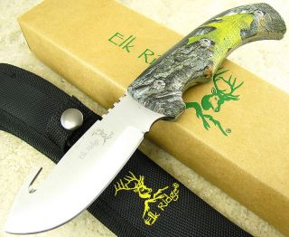 Elk Ridge Full Tang Guthook Skinning Fixed Blade Knife Camo Handle