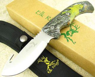 Elk Ridge Full Tang Guthook Skinning Fixed Blade Knife Camo Handle