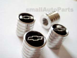 Chevrolet Logo Chrome Aluminum Tire Wheel Stem Air Valve Caps Set