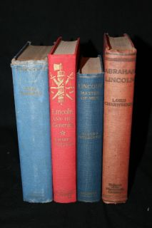 Lot of 4 Antique Books About Abraham Lincoln History Civil War Old