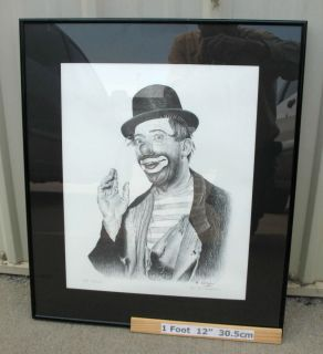 Dated 1981 Framed B D Pattison Emmett Kelly Clown Print 15 25 Numbered