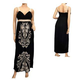 Plus Size Embroidery Print Empire Waist Maxi Dress Black