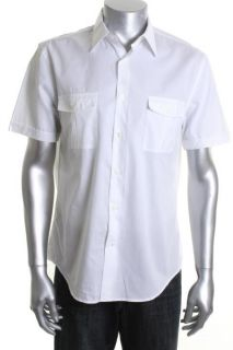 Perry Ellis New White Chambray Short Sleeves Two Pocket Button Down