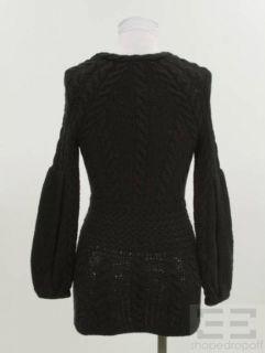 Oscar de La Renta Black Cashmere Cable Knit Bell Sleeve Sweater Size