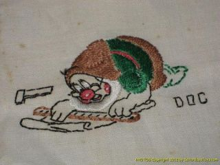 1938 Walt Disney Enterprises Snow White Doc Kitchen Towel Louis Nessel