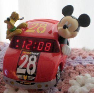 Mickey Mouse Race Car LED Alarm Clock Collectible