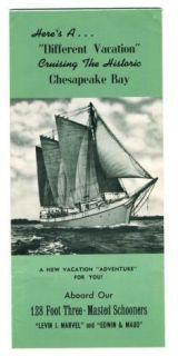 Chesapeake Bay 3 Masted Schooner Brochure Levin J Marvel Edwin Maud